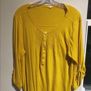 Mustard Yellow J. Crew 3/4 Sleeve Blouse